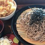 せね家 - ざるそば大盛+ミニかき揚げ丼セット\700(17-09)