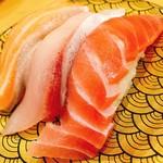 鮨覚 - 料理写真:とろ三点盛(中とろ、ぶりとろ、とろサーモン)