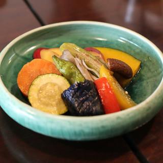 手打ち蕎麦 かね井 - 料理写真:季節野菜の揚げびたし