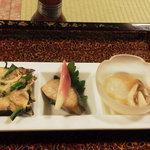 わ田作 - さわらの幽庵焼き、ホタルイカとホタテ・菜の花のグラタン、ノレソレの酢の物