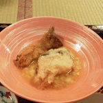 わ田作 - 鯛の唐揚げ温卵ソース、エリンギフライ