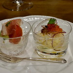 ら・ぶーか - 料理写真:水牛のモッツァレラとトマト。生ハム。 蟹とイクラのサラダ