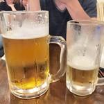 きんちゃん家 - - ドデカジョッキ生ビール 1,000円 - 生ビール 480円
