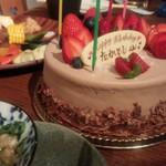 日本酒バル森 - サプライズのケーキ