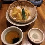 72890673 - ひらめの天ぷら柚子こうしょう風味