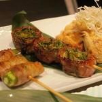 ぬる燗佐藤 横濱茶寮 - 「オクラの豚巻き」「レタスの豚巻き」「納豆いなり包み」