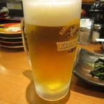 回転さかなや鮨・魚忠 則武本通り店 - 生ビール中 500円 (2017.7)