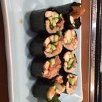 寿司 料理 まるも - 蒸し穴子 をあてで  海苔巻き風になってる