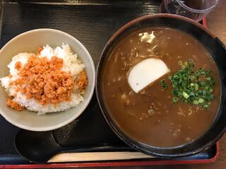 こんぴら茶屋 - 牛カレーうどん1100円+ランチしゃけご飯130円
