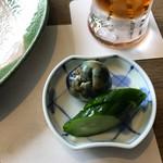 吉亭 - 米沢特産の薄皮丸茄子ときゅうりの浅漬け