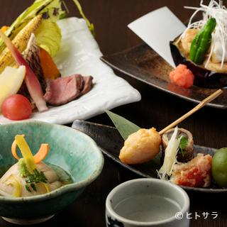 メインはごま料理。おなじみの『胡麻豆腐』も新しい美味しさに