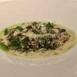 La Cime - スジアラ蕎麦の実とアオサ海苔、百合根のソース