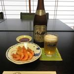 寿司・割烹 池田屋 - 瓶ビール&がら海老の塩ゆで