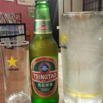 楽楽一番 - 青島ビール通常450円が半額230円 と黒ラベルの大ジョッキ比較