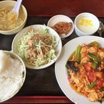 晴々飯店 - トマトと玉子炒め(定食)