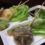 串焼き 一心 - 野菜の串揚げ 旬の野菜を串揚げに!アツアツです。