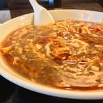 73009689 - #食べログ的に撮るとこうなる。                         肉・豆腐・えのきだけ・椎茸、具だくさんでオトーサンはウレシイ♡                         具ととろみのあるスープのおかげで最後までアシアシ!