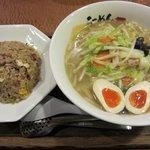 三咲屋 - 野菜塩らーめん+たまご・半チャーハン