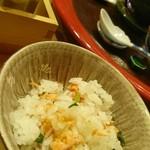 明日香 - 長月 懐石料理  点心  食事   鮭ご飯、香の物、赤だし