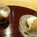 明日香 - 長月 懐石料理  点心   白玉ぜんざい、豆乳アイス