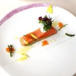 アルピーノ - 料理写真:しっとりと火を通したくぬぎ鱒のコンフィー