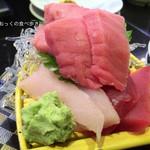 回し寿司 活 - 刺盛りまぐろ3種(赤身、中トロ、びんトロ)
