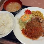 ランチハウス ミトヤ - Dセット(スパイシー焼肉+メンチカツ)780円+ライス大盛(無料)