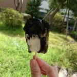 戸田うちわ餅店 - 料理写真:うちわ餅です      考えてみると 一枚ずつ 串に刺す 手作業も 大変な もの です     昔と 同じ味で   濃厚なゴマ    が 美味しい