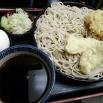 そば作 - かき揚げせいろ(¥480)、イカ天(¥100)、茹で卵(¥50)で合計が¥630