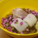 佳肴岡もと - 剣先烏賊、イサキ、海素麺(ウミゾウメン)