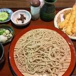 山の飯 沙羅 - 天ざるそば 1620円 (そば湯あり、そば茶なし)