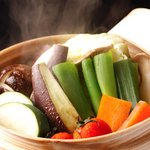 産地直送 お魚とお野菜 海畑 - 季節野菜のせいろ蒸 ~バーニャカウダーとポン酢で~