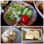 博多 華吉 - ◆サラダ ◆出汁巻玉子、マヨネーズ添え。 ◆ポテトサラダ