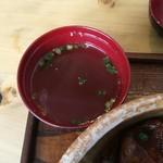 楽豚 - 丼に付いてくるコラーゲンスープ