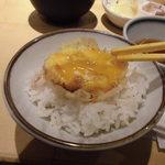 揚げたて天ぷら定食 まきの 難波千日前店 - 玉子オンザライス
