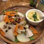 73102859 - 旬の野菜とゆで鶏の温サラダ自家製タルタルソース添え