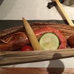えん - 焼き物:大海老と旬野菜の炙り