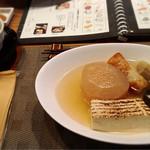 73128750 - 茶飯セット(イカ墨つみれ、小田原すじ、大根、雑魚ちくわ、焼き豆腐)@1,200