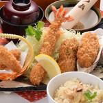 かつ政 - 松茸・海老・カキフライ定食