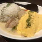 73141756 - チキンと野菜のクリームシチゥ + ふわとろ卵