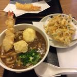 73142270 - 天ぷらカレーうどんには…卵、ジャガイモ、エビの                       天ぷらが付きます。ボリュームタップリの一品です