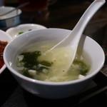 135酒場 - わかめと豆腐のスープアップ