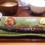 満天食堂 - さんま塩焼き定食