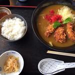73163504 - カキフライカレー蕎麦+セットのご飯                       食べ盛りセットですね〜(笑)