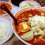 73164446 - 北極スペシャル辛さ2倍麺少なめ、定食、麻婆豆腐大盛、スラ玉、ネギ