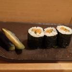 鮨あおき - ヤマゴボウ巻き+ナス漬物