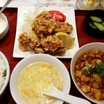 雁川 - 鶏の唐揚げ&麻婆豆腐