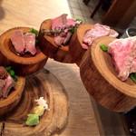 福島 焼肉寿司 - 牛肉刺し五種盛り合わせ