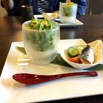 こやすカフェ - 豆腐のカップサラダ 自家製オイルサーディン