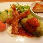 京の洋食工房 MOLLette - 海老フライ、ロールキャベツ、デザート
